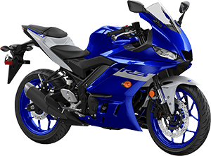 2020 YZF R3 YamahaBlue right front three quarter thumbnail